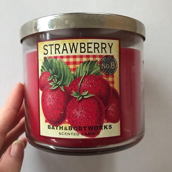 Rare Strawberry No. 8 BBW 3-Wick Candle